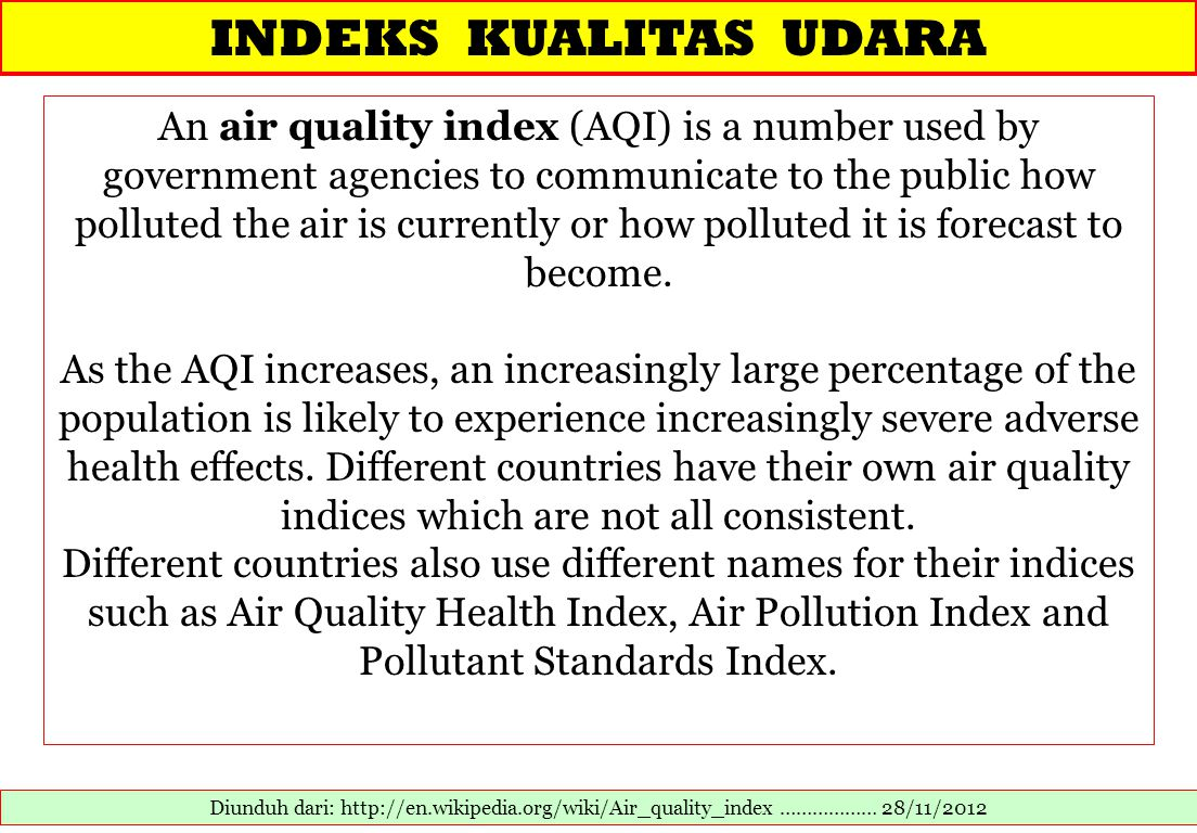 INDEKS KUALITAS UDARA Diunduh dari: http://en.wikipedia.org/wiki/Air_quality_index ……………… 28/11/2012 An air quality index (AQI) is a number used by go