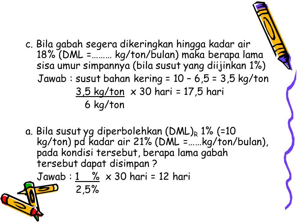c. Bila gabah segera dikeringkan hingga kadar air 18% (DML =……… kg/ton/bulan) maka berapa lama sisa umur simpannya (bila susut yang diijinkan 1%) Jawa