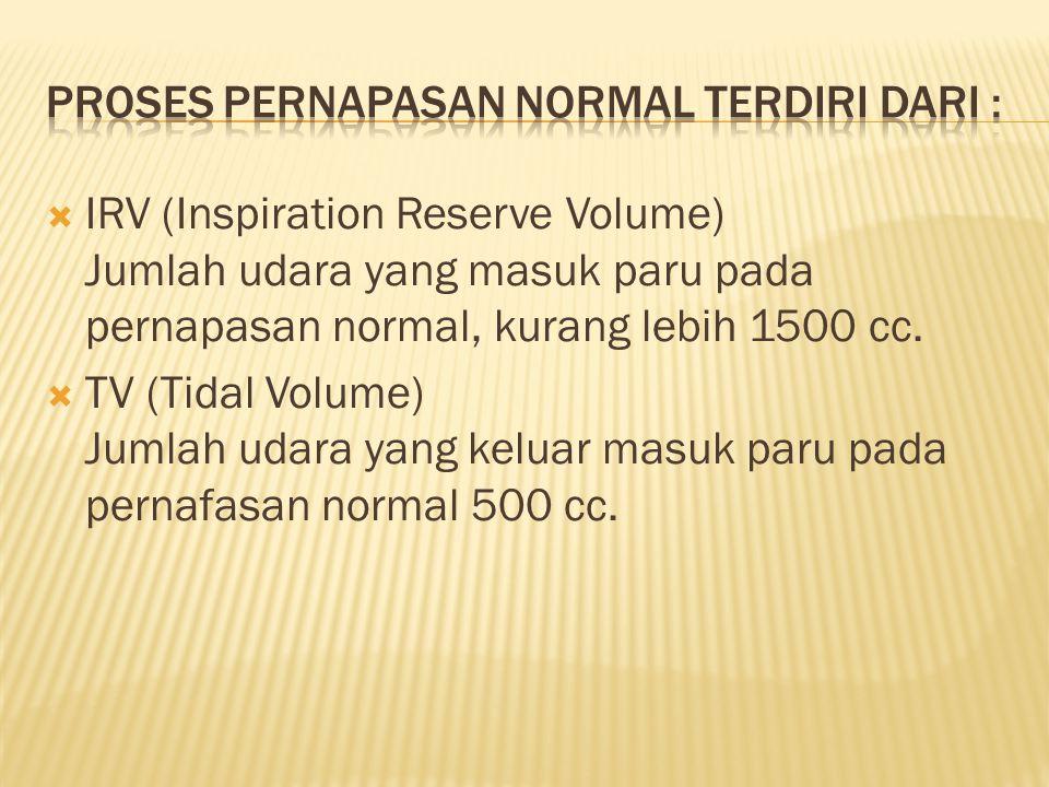  ERV (Expiration Reserve Volume) Jumlah udara yang keluar dari paru setelah ekspirasi 1000 cc  RV (Residual Volume) Jumlah udara yang tertinggi dalam paru setelah ekspirasi maksimum 1200 cc