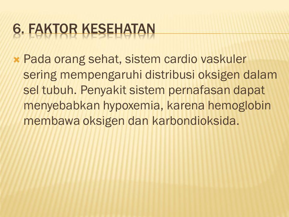 Pada orang sehat, sistem cardio vaskuler sering mempengaruhi distribusi oksigen dalam sel tubuh.