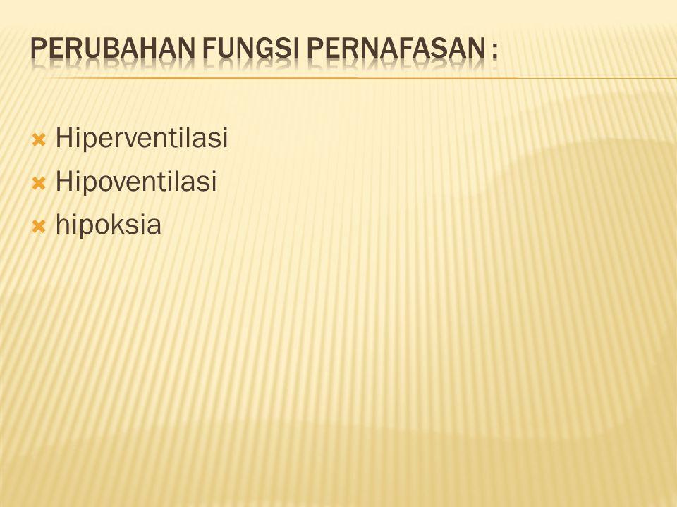  Hiperventilasi  Hipoventilasi  hipoksia