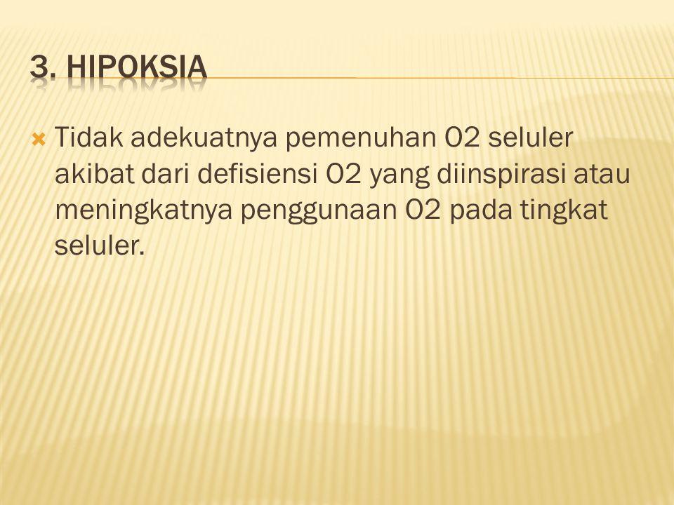  Tidak adekuatnya pemenuhan O2 seluler akibat dari defisiensi O2 yang diinspirasi atau meningkatnya penggunaan O2 pada tingkat seluler.