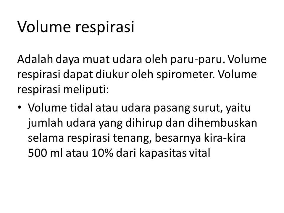 Volume respirasi Adalah daya muat udara oleh paru-paru. Volume respirasi dapat diukur oleh spirometer. Volume respirasi meliputi: Volume tidal atau ud