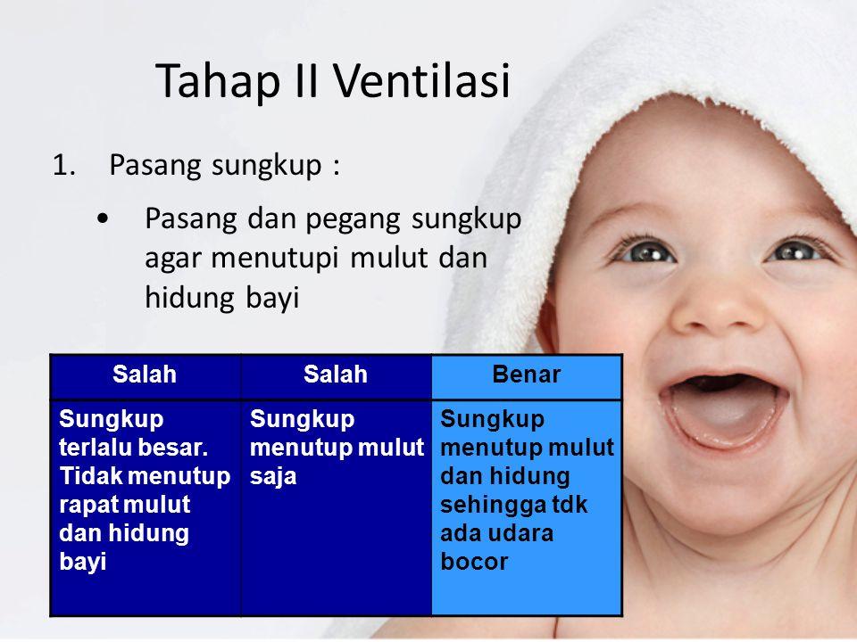 Tahap II Ventilasi 1.Pasang sungkup : Pasang dan pegang sungkup agar menutupi mulut dan hidung bayi Salah Benar Sungkup terlalu besar. Tidak menutup r