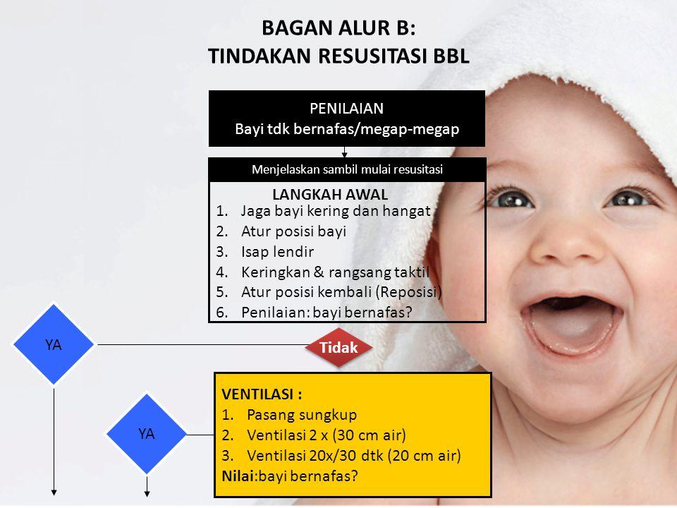 BAGAN ALUR B: TINDAKAN RESUSITASI BBL PENILAIAN Bayi tdk bernafas/megap-megap Menjelaskan sambil mulai resusitasi 1.Jaga bayi kering dan hangat 2.Atur