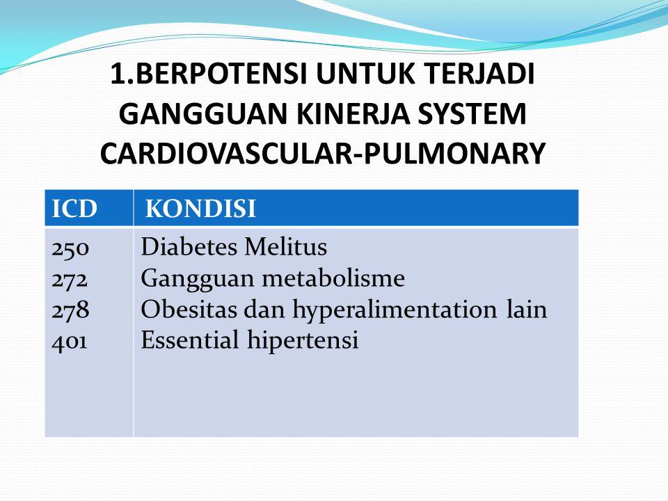 1.BERPOTENSI UNTUK TERJADI GANGGUAN KINERJA SYSTEM CARDIOVASCULAR-PULMONARY ICD KONDISI 250 272 278 401 Diabetes Melitus Gangguan metabolisme Obesitas