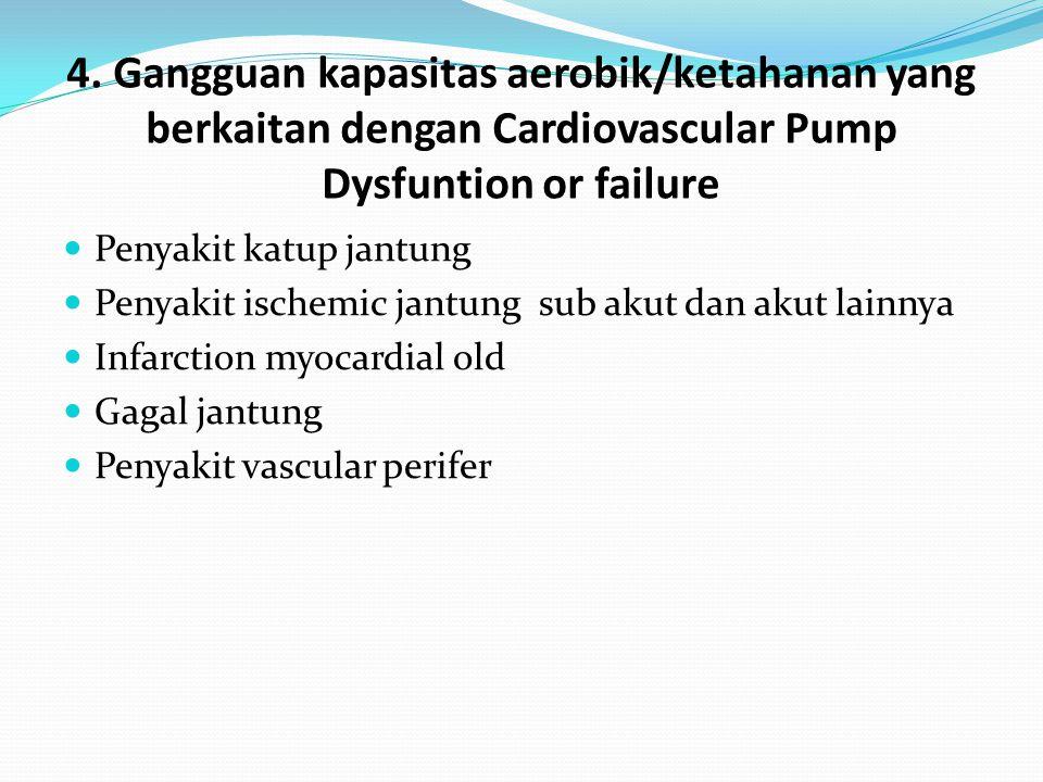 4. Gangguan kapasitas aerobik/ketahanan yang berkaitan dengan Cardiovascular Pump Dysfuntion or failure Penyakit katup jantung Penyakit ischemic jantu