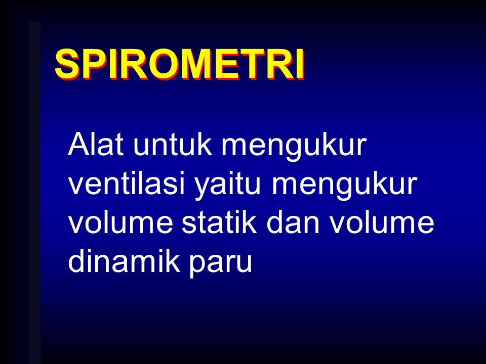 SPIROMETRI Alat untuk mengukur ventilasi yaitu mengukur volume statik dan volume dinamik paru