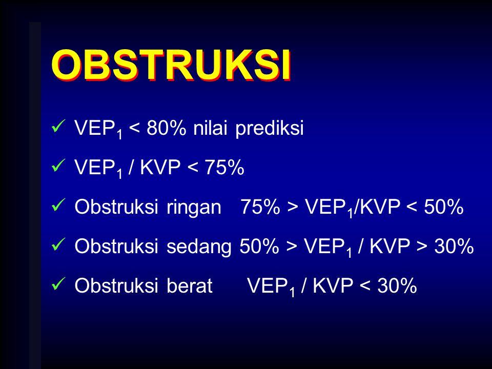 OBSTRUKSI VEP 1 < 80% nilai prediksi VEP 1 / KVP < 75% Obstruksi ringan 75% > VEP 1 /KVP < 50% Obstruksi sedang 50% > VEP 1 / KVP > 30% Obstruksi bera