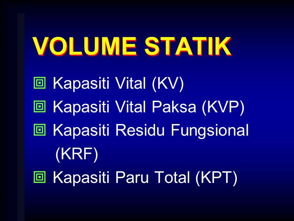VOLUME STATIK  Kapasiti Vital (KV)  Kapasiti Vital Paksa (KVP)  Kapasiti Residu Fungsional (KRF)  Kapasiti Paru Total (KPT)