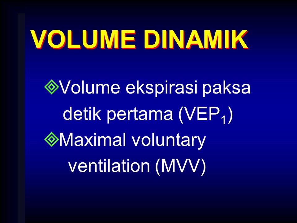 VOLUME DINAMIK  Volume ekspirasi paksa detik pertama (VEP 1 )  Maximal voluntary ventilation (MVV)