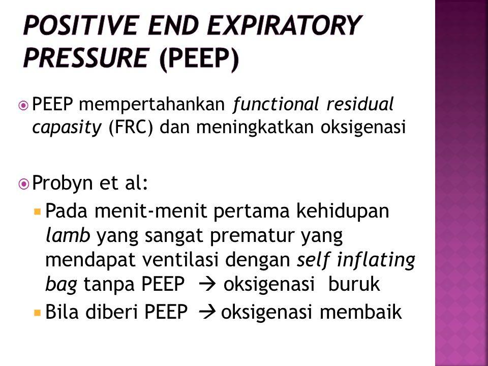  PEEP mempertahankan functional residual capasity (FRC) dan meningkatkan oksigenasi  Probyn et al:  Pada menit-menit pertama kehidupan lamb yang sangat prematur yang mendapat ventilasi dengan self inflating bag tanpa PEEP  oksigenasi buruk  Bila diberi PEEP  oksigenasi membaik