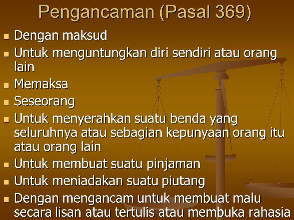 Pengancaman (Pasal 369) Dengan maksud Dengan maksud Untuk menguntungkan diri sendiri atau orang lain Untuk menguntungkan diri sendiri atau orang lain