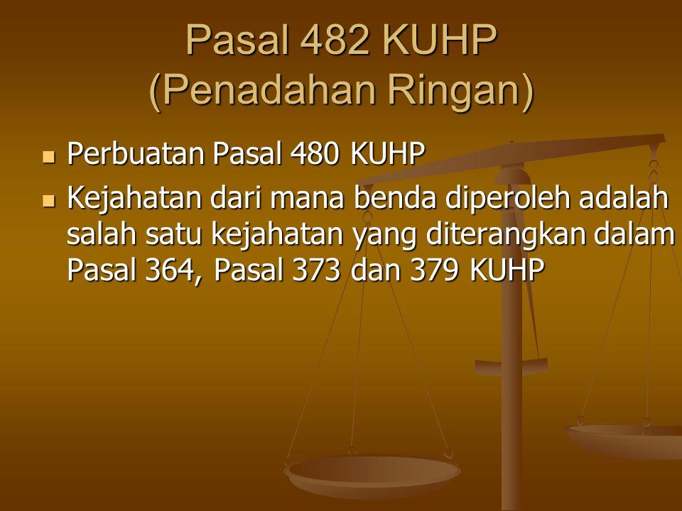 Pasal 482 KUHP (Penadahan Ringan) Perbuatan Pasal 480 KUHP Perbuatan Pasal 480 KUHP Kejahatan dari mana benda diperoleh adalah salah satu kejahatan ya