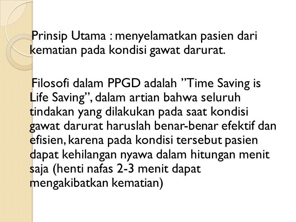 Prinsip Utama : menyelamatkan pasien dari kematian pada kondisi gawat darurat.
