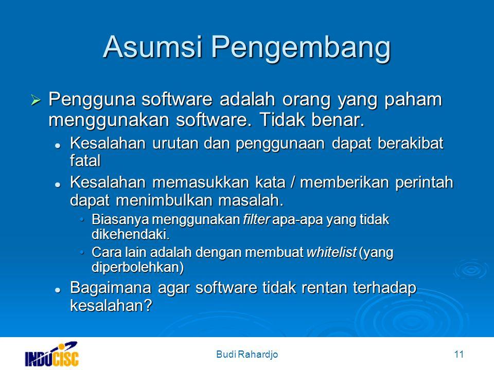 Budi Rahardjo11 Asumsi Pengembang  Pengguna software adalah orang yang paham menggunakan software.