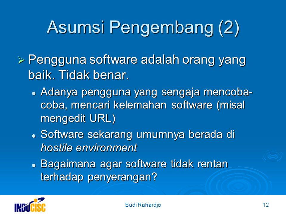 Budi Rahardjo12 Asumsi Pengembang (2)  Pengguna software adalah orang yang baik.