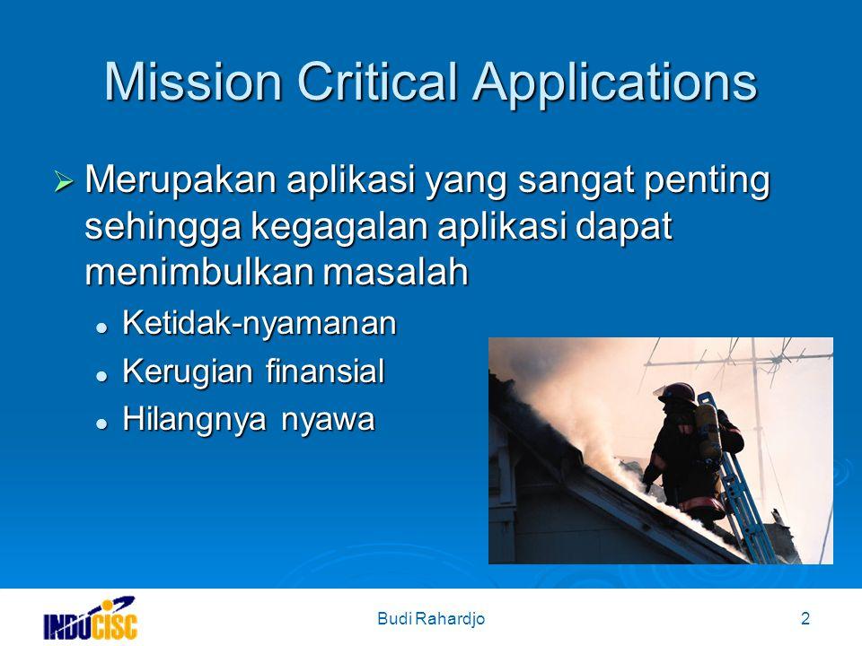 Budi Rahardjo2 Mission Critical Applications  Merupakan aplikasi yang sangat penting sehingga kegagalan aplikasi dapat menimbulkan masalah Ketidak-nyamanan Ketidak-nyamanan Kerugian finansial Kerugian finansial Hilangnya nyawa Hilangnya nyawa