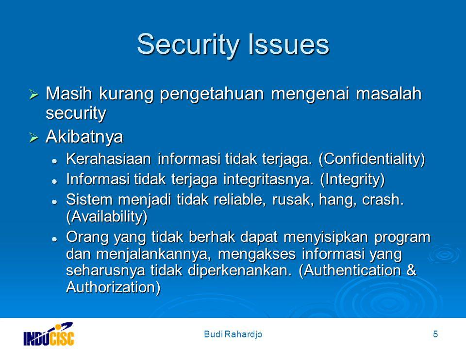 Budi Rahardjo5 Security Issues  Masih kurang pengetahuan mengenai masalah security  Akibatnya Kerahasiaan informasi tidak terjaga.