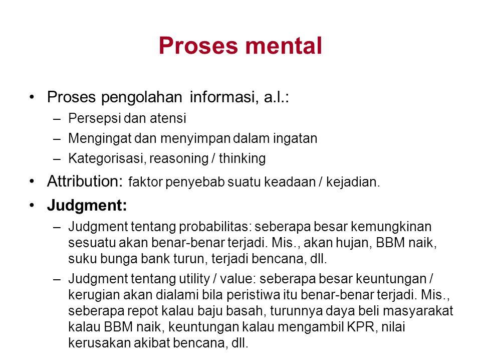 Proses mental Proses pengolahan informasi, a.l.: –Persepsi dan atensi –Mengingat dan menyimpan dalam ingatan –Kategorisasi, reasoning / thinking Attri