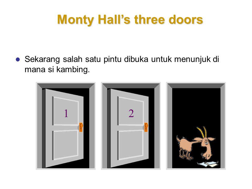 3 Monty Hall's three doors Sekarang salah satu pintu dibuka untuk menunjuk di mana si kambing. 12