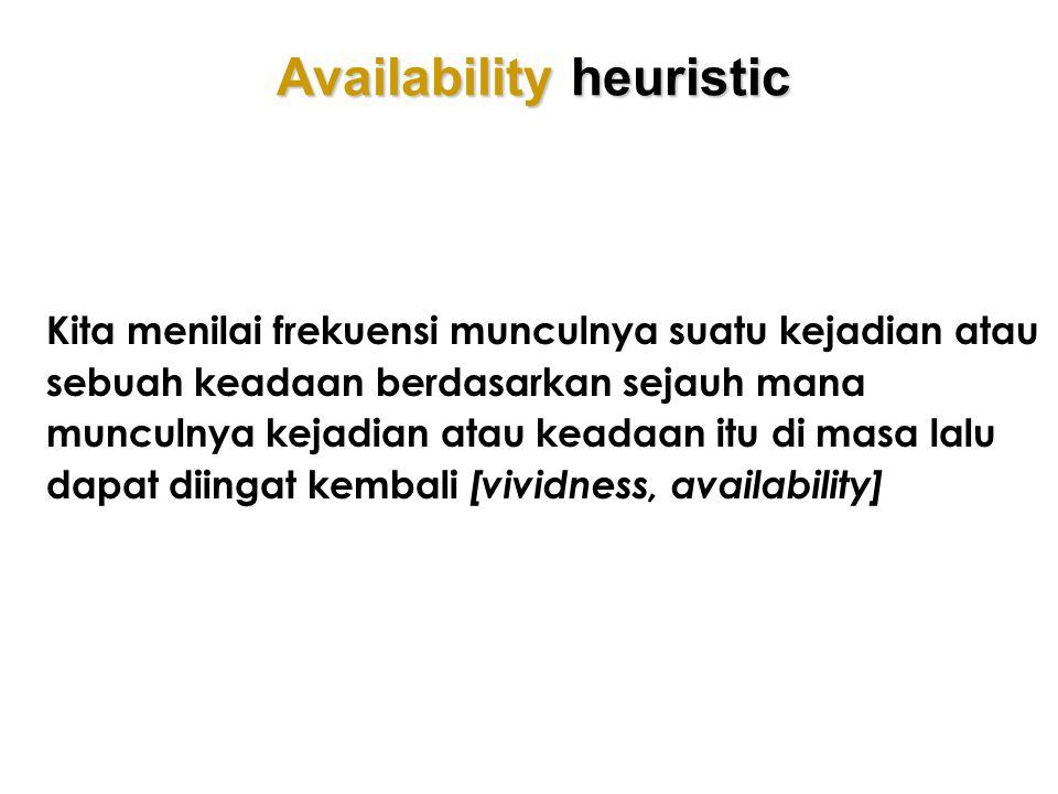 Availability heuristic Kita menilai frekuensi munculnya suatu kejadian atau sebuah keadaan berdasarkan sejauh mana munculnya kejadian atau keadaan itu
