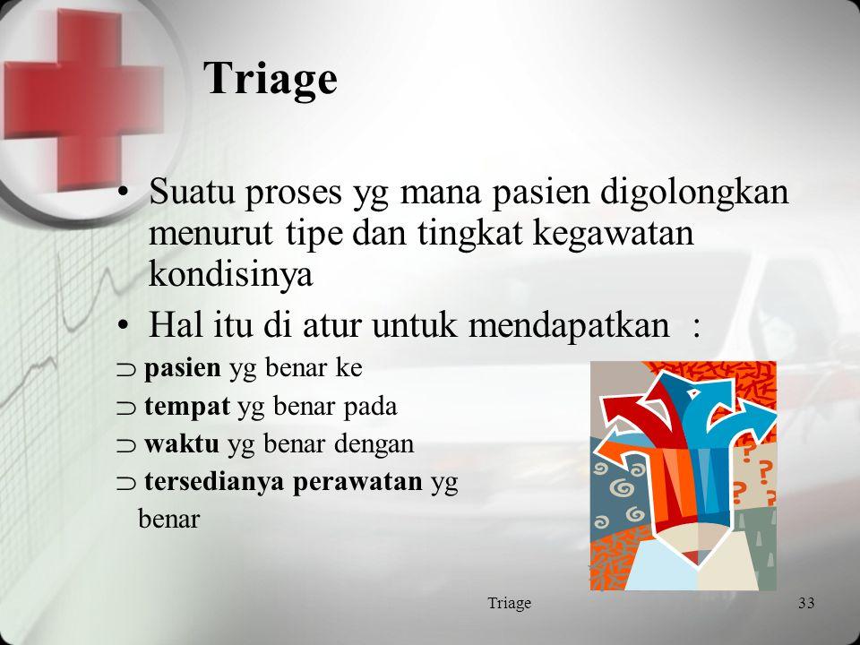 Konsep Triage Tujuan utama adalah utk mengidentifikasi kondisi mengancam nyawa Tujuan kedua adalah utk memprioritaskan pasien menurut keakutannya Pengkategorian mungkin ditentukan sewaktu-waktu Jika ragu, pilih prioritas yg > tinggi =up triage utk menghindari penurunan triage Triage32