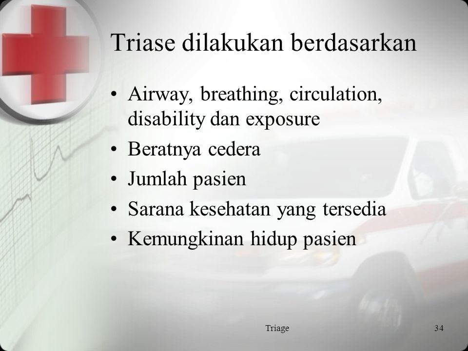 Triage Suatu proses yg mana pasien digolongkan menurut tipe dan tingkat kegawatan kondisinya Hal itu di atur untuk mendapatkan :  pasien yg benar ke  tempat yg benar pada  waktu yg benar dengan  tersedianya perawatan yg benar Triage33