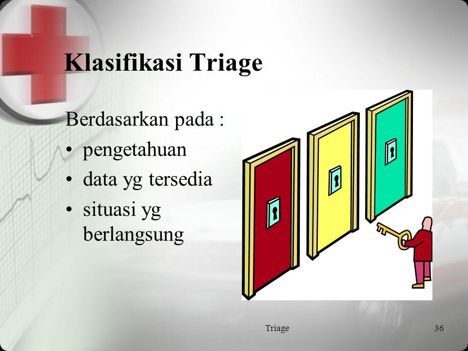 Sistem Triage Nondisaster: Untuk menyediakan perawatan sebaik mungkin bagi setiap individu pasien  sehari-hari Disaster: Untuk menyediakan perawatan yg lebih efektif untuk pasien dalam jumlah banyak  bencana Triage35