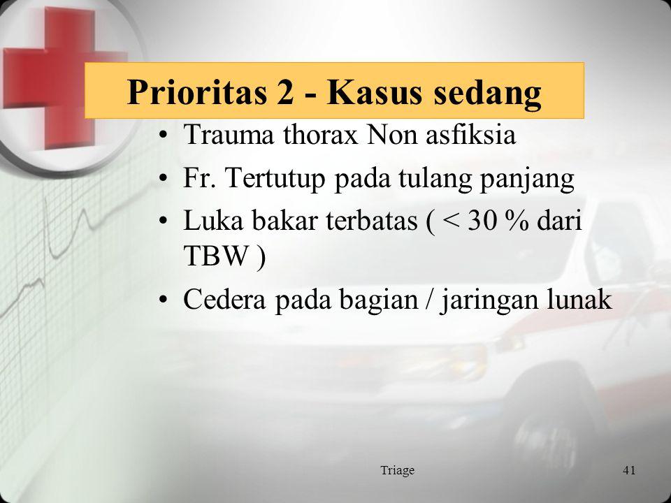 Prioritas 2 / Urgent Pasien dgn penyakit yg akut Mungkin membutuhkan trolley, kursi roda atau jalan kaki Waktu tunggu 30 menit Area Critical care Triage40