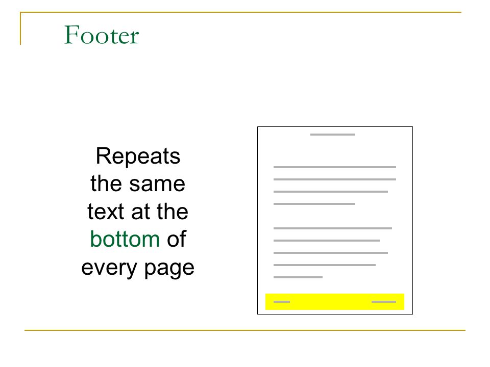 Footer Repeats the same text at the bottom of every page