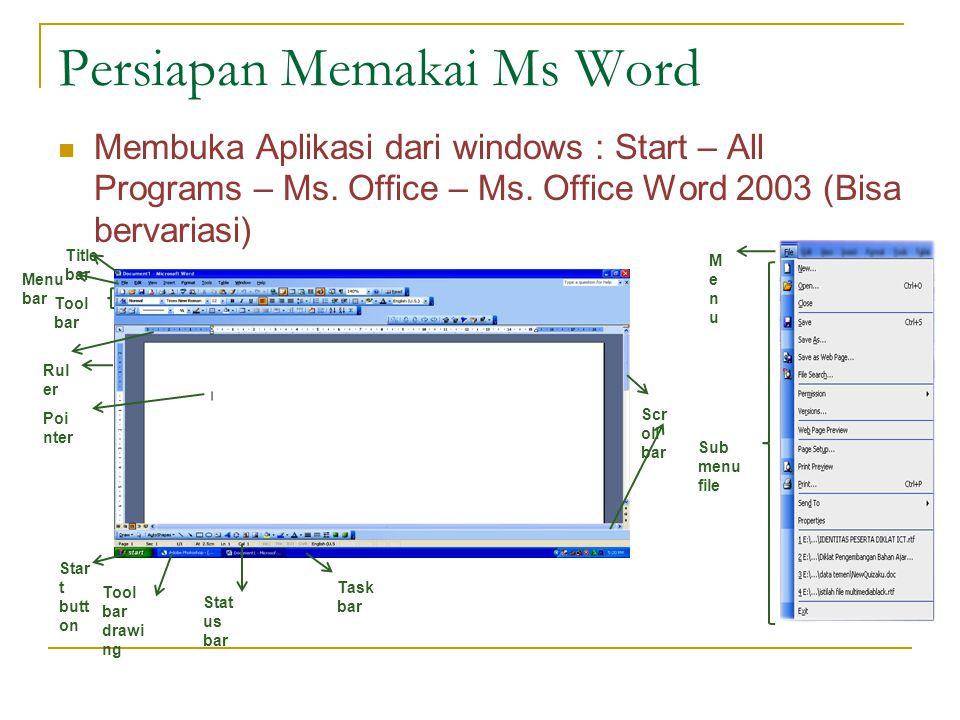 Persiapan Memakai Ms Word Membuka Aplikasi dari windows : Start – All Programs – Ms. Office – Ms. Office Word 2003 (Bisa bervariasi) Title bar Menu ba