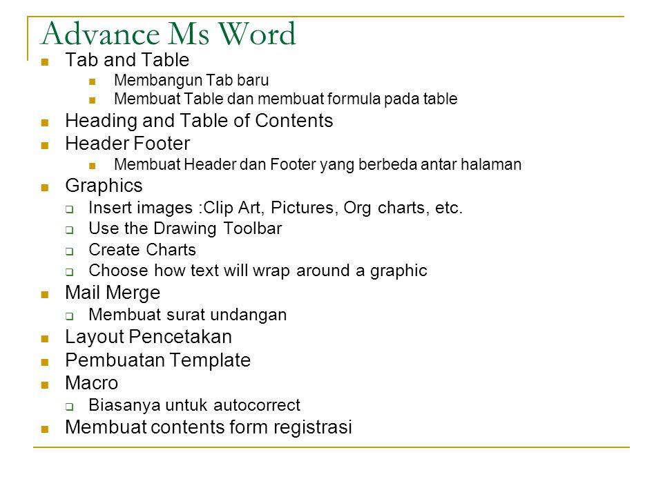 Advance Ms Word Tab and Table Membangun Tab baru Membuat Table dan membuat formula pada table Heading and Table of Contents Header Footer Membuat Head
