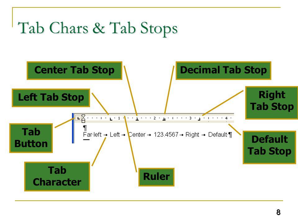8 Tab Chars & Tab Stops Tab Character Left Tab Stop Center Tab StopDecimal Tab Stop Right Tab Stop Default Tab Stop Ruler Tab Button