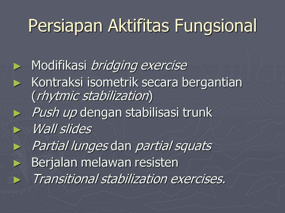 Persiapan Aktifitas Fungsional ► Modifikasi bridging exercise ► Kontraksi isometrik secara bergantian (rhytmic stabilization) ► Push up dengan stabili