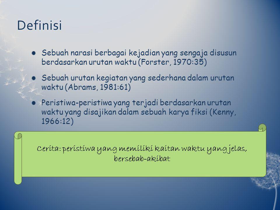 Definisi  Sebuah narasi berbagai kejadian yang sengaja disusun berdasarkan urutan waktu (Forster, 1970:35)  Sebuah urutan kegiatan yang sederhana da