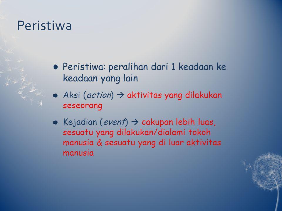 Peristiwa  Peristiwa: peralihan dari 1 keadaan ke keadaan yang lain  Aksi (action)  aktivitas yang dilakukan seseorang  Kejadian (event)  cakupan