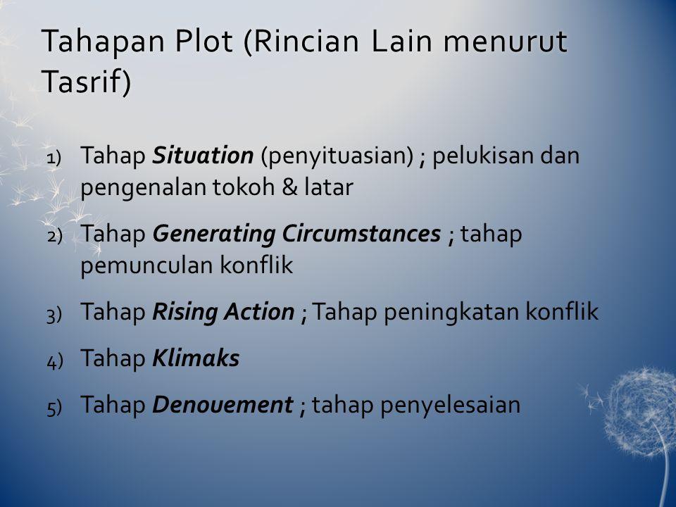 Tahapan Plot (Rincian Lain menurut Tasrif) 1) Tahap Situation (penyituasian) ; pelukisan dan pengenalan tokoh & latar 2) Tahap Generating Circumstance