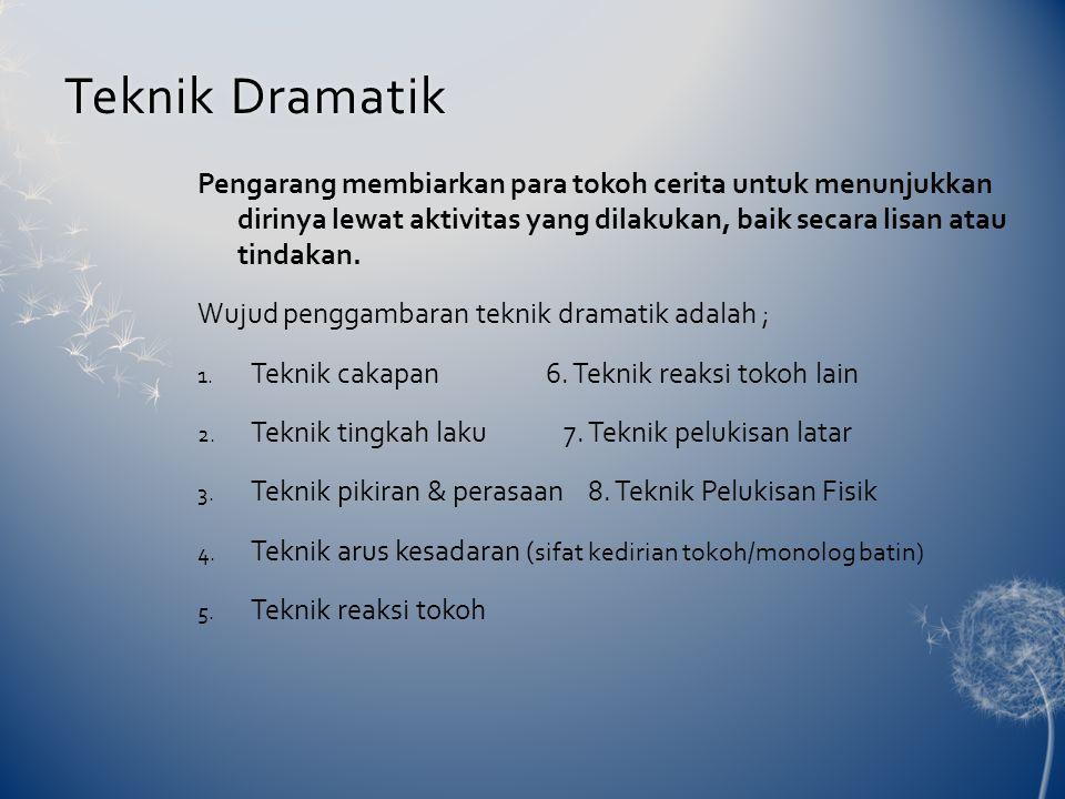 Teknik DramatikTeknik Dramatik Pengarang membiarkan para tokoh cerita untuk menunjukkan dirinya lewat aktivitas yang dilakukan, baik secara lisan atau tindakan.