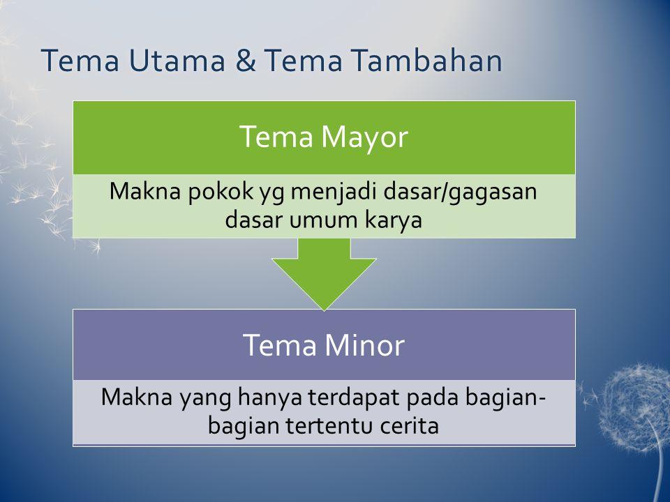 Tema Utama & Tema TambahanTema Utama & Tema Tambahan Tema Minor Makna yang hanya terdapat pada bagian- bagian tertentu cerita Tema Mayor Makna pokok yg menjadi dasar/gagasan dasar umum karya