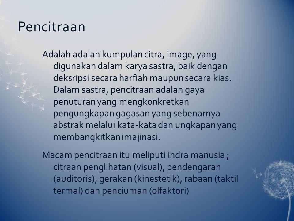 Pencitraan Adalah adalah kumpulan citra, image, yang digunakan dalam karya sastra, baik dengan deksripsi secara harfiah maupun secara kias. Dalam sast