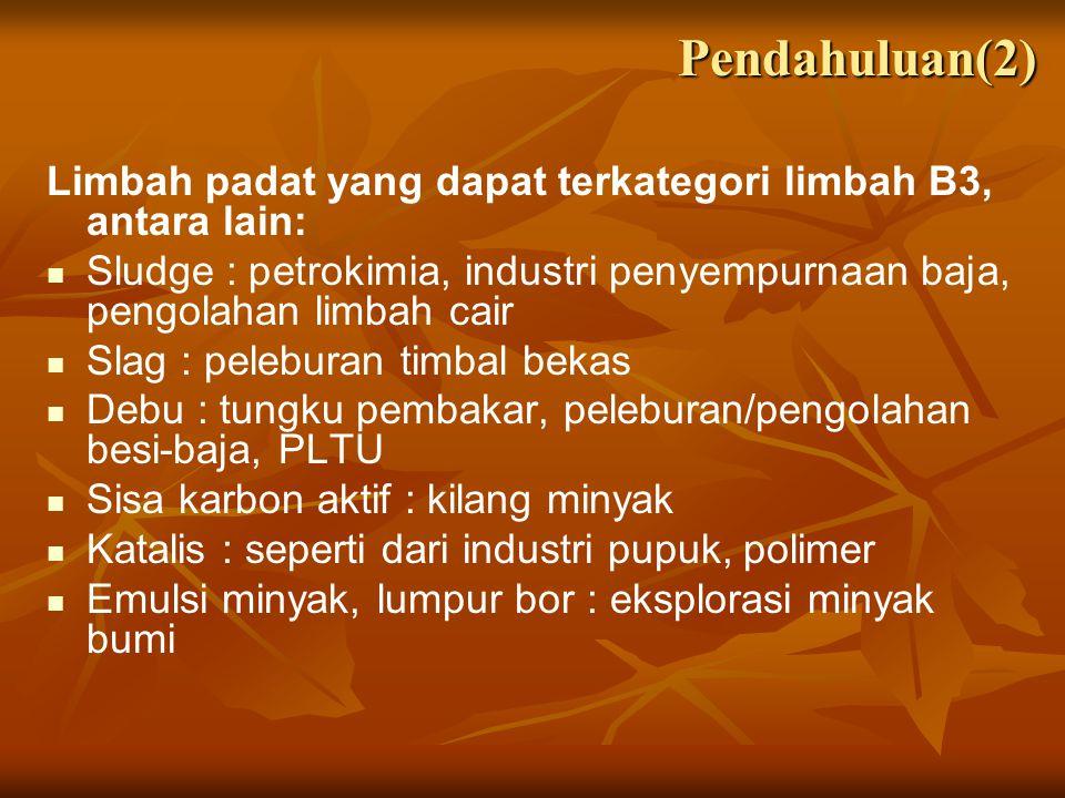Studi Kasus: Indonesia Lumpur IPAL Industri Aki (1997): Lumpur IPAL Industri Aki (1997): Karakteristik awal: Pb, Zn paling besar dibanding logam lain Karakteristik awal: Pb, Zn paling besar dibanding logam lain Produk: bata merah (mutu I, setelah pembakaran) Produk: bata merah (mutu I, setelah pembakaran) Optimum campuran (pengganti lempung): lumpur 10%, lempung, air Optimum campuran (pengganti lempung): lumpur 10%, lempung, air TCLP logam Pb: 0.139 mg/l (memenuhi baku mutu TCLP) TCLP logam Pb: 0.139 mg/l (memenuhi baku mutu TCLP)