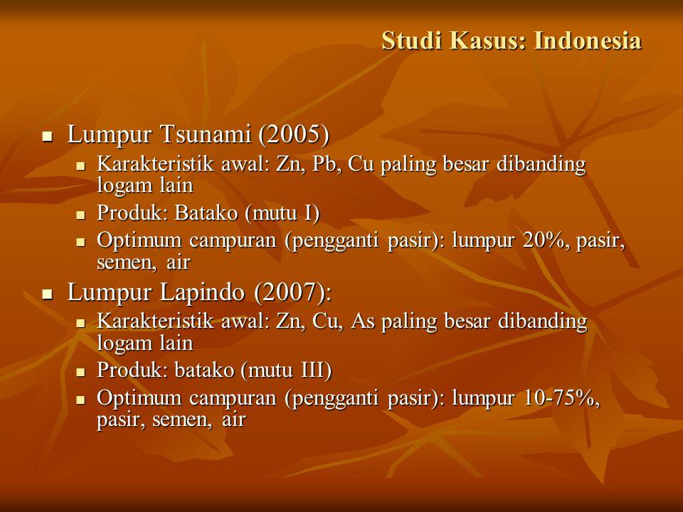 Studi Kasus: Indonesia Lumpur Tsunami (2005) Lumpur Tsunami (2005) Karakteristik awal: Zn, Pb, Cu paling besar dibanding logam lain Karakteristik awal: Zn, Pb, Cu paling besar dibanding logam lain Produk: Batako (mutu I) Produk: Batako (mutu I) Optimum campuran (pengganti pasir): lumpur 20%, pasir, semen, air Optimum campuran (pengganti pasir): lumpur 20%, pasir, semen, air Lumpur Lapindo (2007): Lumpur Lapindo (2007): Karakteristik awal: Zn, Cu, As paling besar dibanding logam lain Karakteristik awal: Zn, Cu, As paling besar dibanding logam lain Produk: batako (mutu III) Produk: batako (mutu III) Optimum campuran (pengganti pasir): lumpur 10-75%, pasir, semen, air Optimum campuran (pengganti pasir): lumpur 10-75%, pasir, semen, air