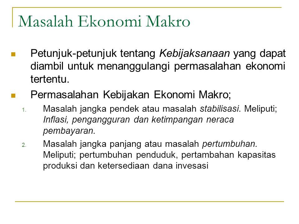 Masalah Ekonomi Makro Petunjuk-petunjuk tentang Kebijaksanaan yang dapat diambil untuk menanggulangi permasalahan ekonomi tertentu. Permasalahan Kebij