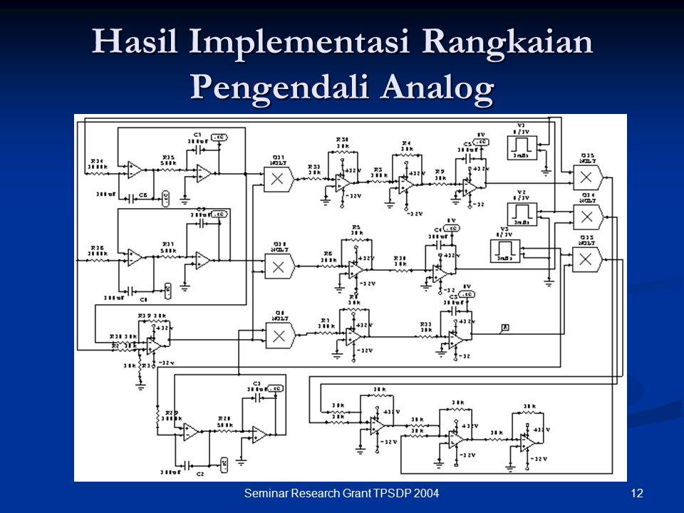 12Seminar Research Grant TPSDP 2004 Hasil Implementasi Rangkaian Pengendali Analog