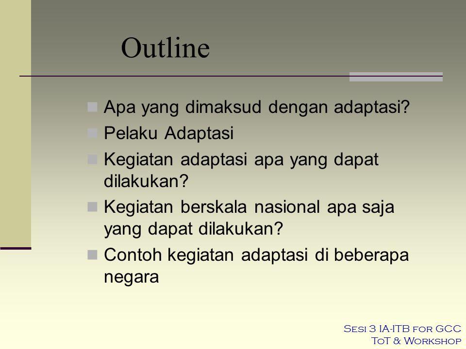 Outline Apa yang dimaksud dengan adaptasi? Pelaku Adaptasi Kegiatan adaptasi apa yang dapat dilakukan? Kegiatan berskala nasional apa saja yang dapat