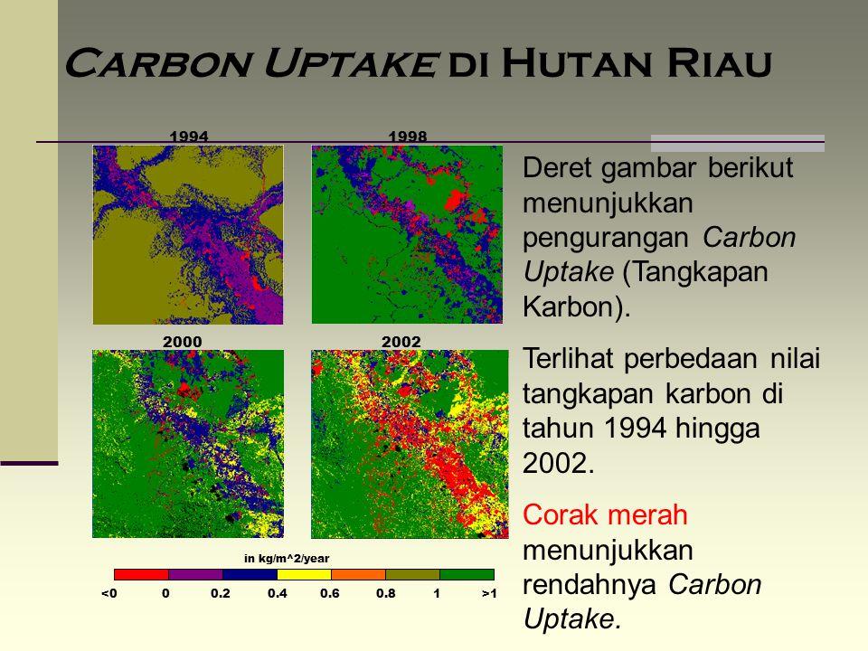 Carbon Uptake di Hutan Riau 19941998 20002002 in kg/m^2/year 1 Deret gambar berikut menunjukkan pengurangan Carbon Uptake (Tangkapan Karbon). Terlihat