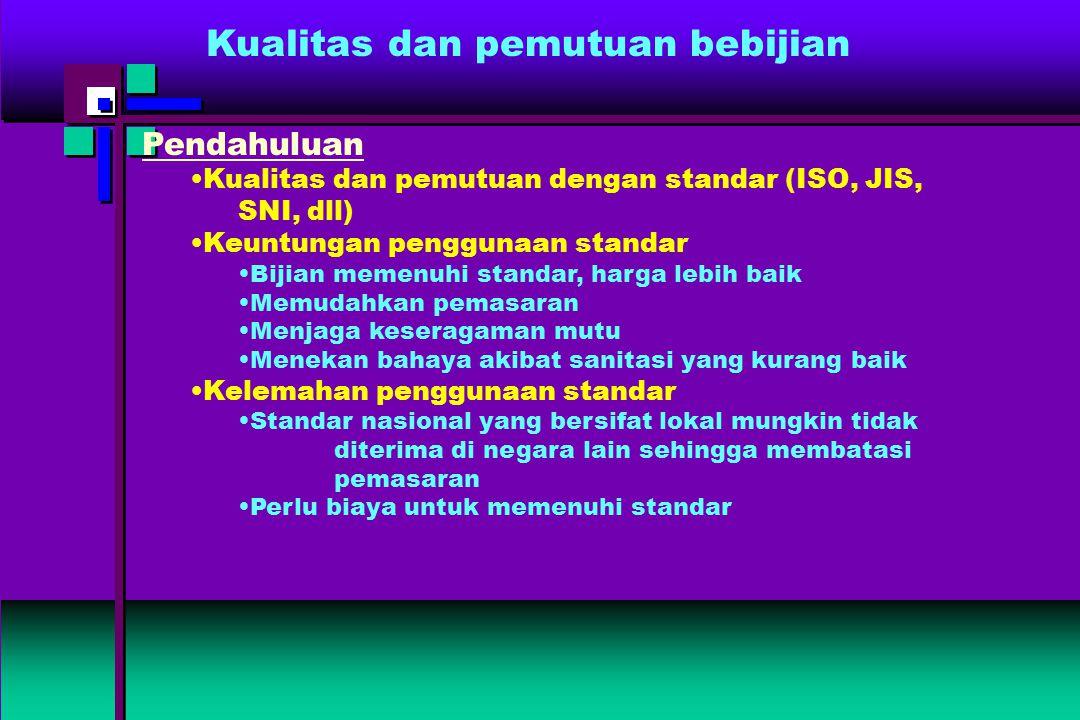 Kualitas dan pemutuan bebijian Pendahuluan Kualitas dan pemutuan dengan standar (ISO, JIS, SNI, dll) Keuntungan penggunaan standar Bijian memenuhi sta