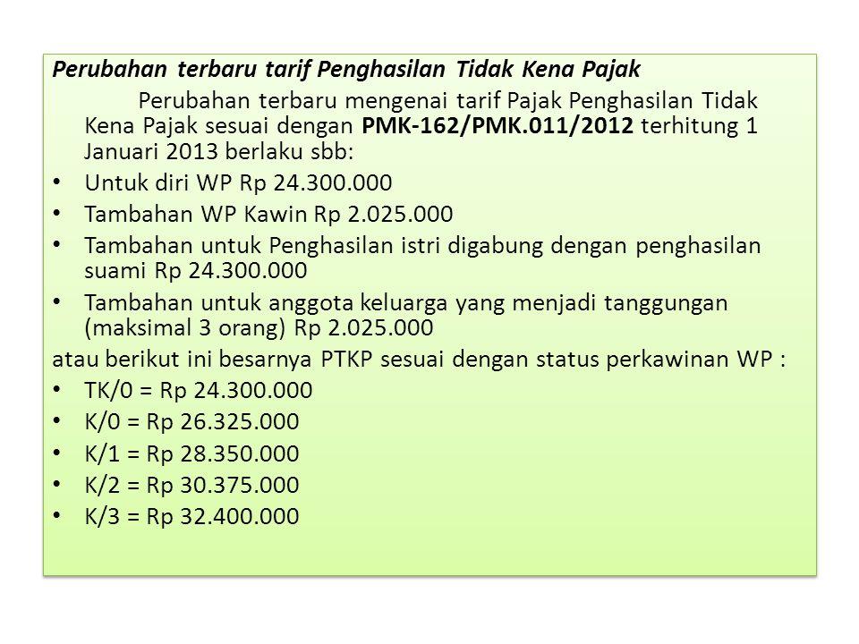 Perubahan terbaru tarif Penghasilan Tidak Kena Pajak Perubahan terbaru mengenai tarif Pajak Penghasilan Tidak Kena Pajak sesuai dengan PMK-162/PMK.011