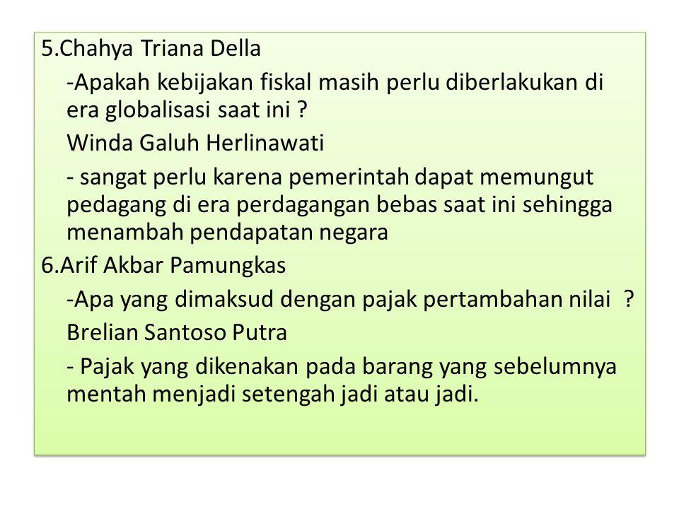 5.Chahya Triana Della -Apakah kebijakan fiskal masih perlu diberlakukan di era globalisasi saat ini ? Winda Galuh Herlinawati - sangat perlu karena pe